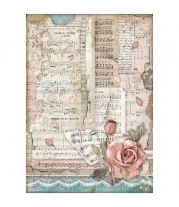 """Рисовая бумага для декупажа Stamperia DFSA4539 """"Страсть - розы и музыка"""", формат А4"""