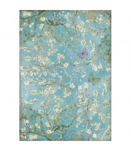 """Рисовая бумага для декупажа Stamperia DFSA4546 """"Ателье - Бабочки на синем фоне"""", формат А4"""