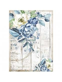 Рисовая бумага для декупажа Романтическое море - голубой цветок, Stamperia формат А4