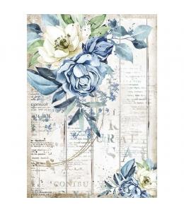 """Рисовая бумага для декупажа Stamperia DFSA4560 """"Романтическое море - голубой цветок"""", формат А4"""