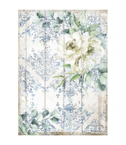 """Рисовая бумага для декупажа Stamperia DFSA4561 """"Романтическое море - белый цветок"""", формат А4"""