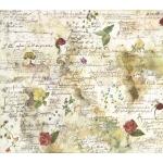 """Рисовая салфетка для декупажа Stamperia DFT017 """"Цветы и стихи"""", 50х50 см"""