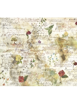 Рисовая салфетка для декупажа Цветы и стихи, Stamperia DFT017, 50х50 см