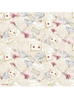 Рисовая бумага для декупажа Письма и цветы, Stamperia DFT083, 50х50 см
