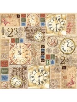 Рисовая салфетка для декупажа Часы и текст, Stamperia DFT180, 50х50 см