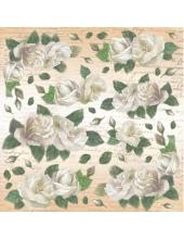 "Рисовая салфетка для декупажа Stamperia DFT181 ""Белые розы"", 50х50 см"