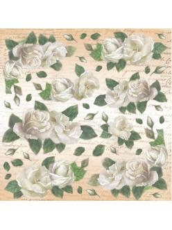 Рисовая салфетка для декупажа Белые розы, Stamperia DFT181 , 50х50 см