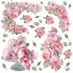"Рисовая салфетка для декупажа Stamperia DFT183 ""Стеклянная ваза с розами"", 50х50 см"