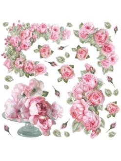 Рисовая салфетка для декупажа Стеклянная ваза с розами , 50х50 см, Stamperia DFT183