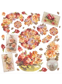 Рисовая салфетка для декупажа Желтые и красные розы, 50х50 см, Stamperia DFT186