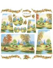 "Рисовая салфетка для декупажа Stamperia DFT190 ""Осенний пейзаж"", 50х50 см"