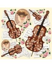 "Рисовая салфетка для декупажа Stamperia DFT193 ""Дама, скрипка ноты"", 50х50 см"