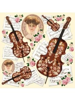 Рисовая салфетка для декупажа Дама, скрипка и ноты, Stamperia DFT193, 50х50 см