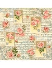 """Рисовая салфетка для декупажа Stamperia DFT196 """"Розы, ноты и орнамент"""", 50х50 см"""