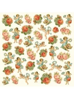Рисовая салфетка для декупажа Ангелы и розы Stamperia DFT197, 50х50 см