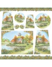 """Рисовая салфетка для декупажа Stamperia DFT199 """"Домик у озера"""", 50х50 см"""