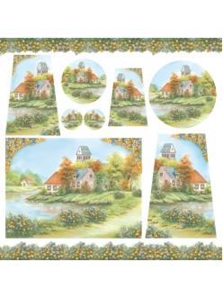 Рисовая салфетка для декупажа Домик у озера, Stamperia DFT199, 50х50 см