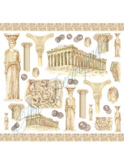 Рисовая салфетка для декупажа Древняя Греция, Stamperia, 50х50 см