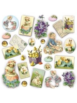 Рисовая салфетка для декупажа Дети и винтажные открытки, Stamperia DFT205, 50х50 см