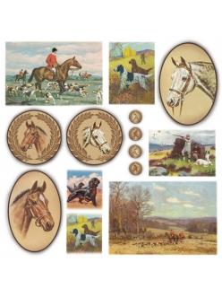 Рисовая салфетка для декупажа Лошади, охота, Stamperia DFT207, 50х50 см
