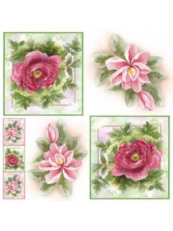 Рисовая салфетка для декупажа Магнолии и розы, акварель, Stamperia DFT211, 50х50 см