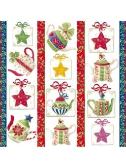 Рисовая салфетка для декупажа Рождественсое чаепитие, Stamperia DFT215, 50х50 см