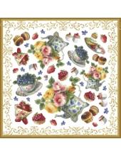 "Рисовая салфетка для декупажа Stamperia DFT219 ""Чаепитие, цветы"", 50х50 см"