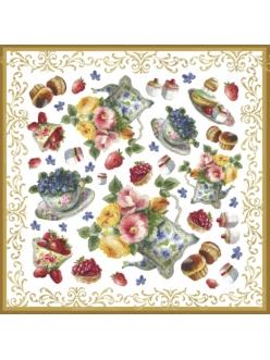Рисовая салфетка для декупажа Чаепитие, цветы, Stamperia DFT219, 50х50 см