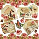 "Рисовая салфетка для декупажа Stamperia DFT226 ""Старые письма, птицы, розы"", 50х50 см,14 г/м2"