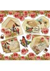 """Рисовая салфетка для декупажа Stamperia DFT226 """"Старые письма, птицы, розы"""", 50х50 см"""