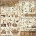"Рисовая салфетка для декупажа Stamperia DFT237 ""Короны, тексты, винтаж"", 50х50 см"