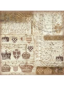 Рисовая салфетка для декупажа Короны, тексты, винтаж, 50х50 см, Stamperia DFT237