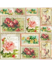 "Рисовая салфетка для декупажа Stamperia DFT241 ""Розы на открытках"", 50х50 см"