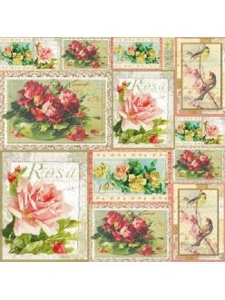 Рисовая салфетка для декупажа Розы на открытках, 50х50 см, Stamperia DFT241