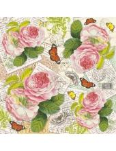 """Рисовая салфетка для декупажа Stamperia DFT242 """"Розы, открытки, бабочки"""",  50х50 см"""