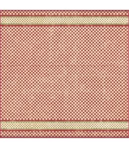 """Рисовая салфетка для декупажа Stamperia DFT280 """"Клетка и бордюр в горошек, красный"""", 50х50 см"""