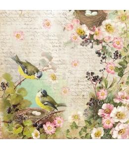 "Рисовая салфетка для декупажа Stamperia DFT296 ""Птичьи гнезда"", 50х50 см"