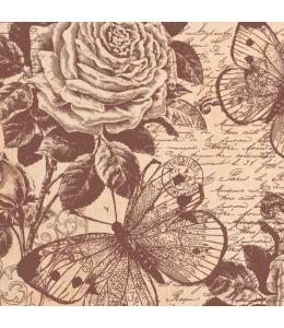 """Рисовая салфетка для декупажа Stamperia DFT302 """"Розы и бабочки"""", 50х50 см"""