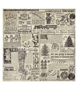 """Рисовая салфетка для декупажа Stamperia DFT305 """"Старинное рождество, журнальные вырезки"""", 50х50 см"""