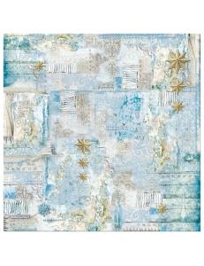 "Рисовая салфетка для декупажа Stamperia DFT332 ""Золотые звезды на голубом фоне"", 50х50 см"