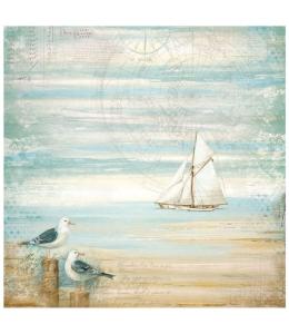 "Рисовая салфетка для декупажа ""Страна морей. Море, чайка"", 50х50 см, Stamperia DFT334"
