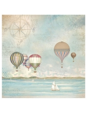 """Рисовая салфетка для декупажа """"Страна морей, воздушные шары"""", 50х50 см, Stamperia DFT335"""