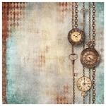 "Рисовая салфетка для декупажа ""Часы на цепочке"", 50х50 см, Stamperia DFT338"