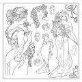 """Салфетка рисовая с контуром рисунка """"Альфонс Муха, женщины"""" Stamperia DFTM14, 50х50 см"""