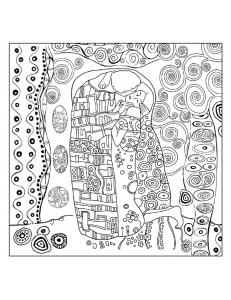 """Салфетка рисовая с контуром рисунка Klimt """"Il bacio"""" Stamperia DFTM15, 50х50 см"""