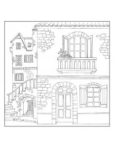"""Салфетка рисовая с контуром рисунка """"Старый дом"""" Stamperia DFTM16, 50х50 см"""