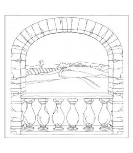 "Салфетка рисовая с контуром рисунка ""Деревенская арка"" Stamperia DFTM17, 50х50 см"