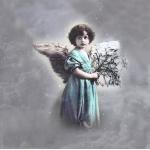 """Салфетка для декупажа SVD2051 """"Ангел в бирюзовом"""", 33х33 см, Sagen Vintage Design, Норвегия"""