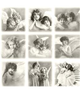 """Салфетка для декупажа SVD80001 """"Винтажные ангелы"""", 33х33 см, Sagen Vintage Design, Норвегия"""