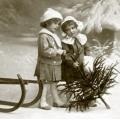 """Салфетка для декупажа SVD80005 """"Девочки с ёлочкой"""", 33х33 см, Sagen Vintage Design, Норвегия"""